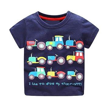 077b9b9492b9 Amazon.com  Toddler Baby Boys Tops Clothes Short Sleeve Cartoon ...