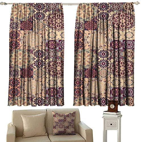 DUCKIL Heat Insulation Curtain Moroccan Grid Style Ornate Ceramic Style Tile Orient Vintage Inspirations Blackout Draperies for Bedroom Living Room W55 xL72 Maroon Pale Orange Dark Blue