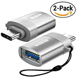 ESR [2 Packs] USB C to USB A OTG Adapter with 5.1Kohm Resistor, ESR Type C Connector with Keychain Converts USB A (female) to USB C (male) for MacBook Pro Samsung S8 Google Pixel Nexus 6P 5X, Grey