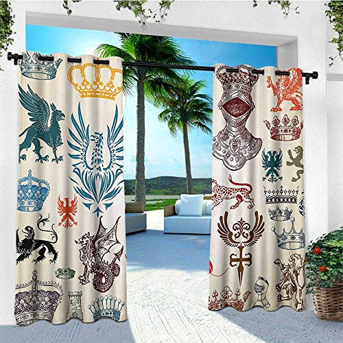 - leinuoyi Medieval, Outdoor Curtain Wall, Collection of Medieval Renaissance Icons Retro Style Baroque Classical Art Print, for Patio Waterproof W84 x L96 Inch Multicolor