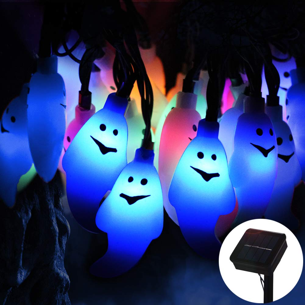 Halloween Ghost String Lights, ZALALOVA 21.3ft 30LEDs Solar Powered Waterproof 8 Modes Ghost String Lights for Halloween Horror Nights Decorations Indoor Outdoor Garden Lawn Home Party(Multicolor)