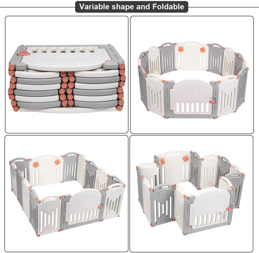 Portable Plastic Infants Safety Fence Free Parents Hands Baby Folding Playpen Home Indoor Outdoor Activity Centre Play Pen 14 Panel Kids Safety Play Yard