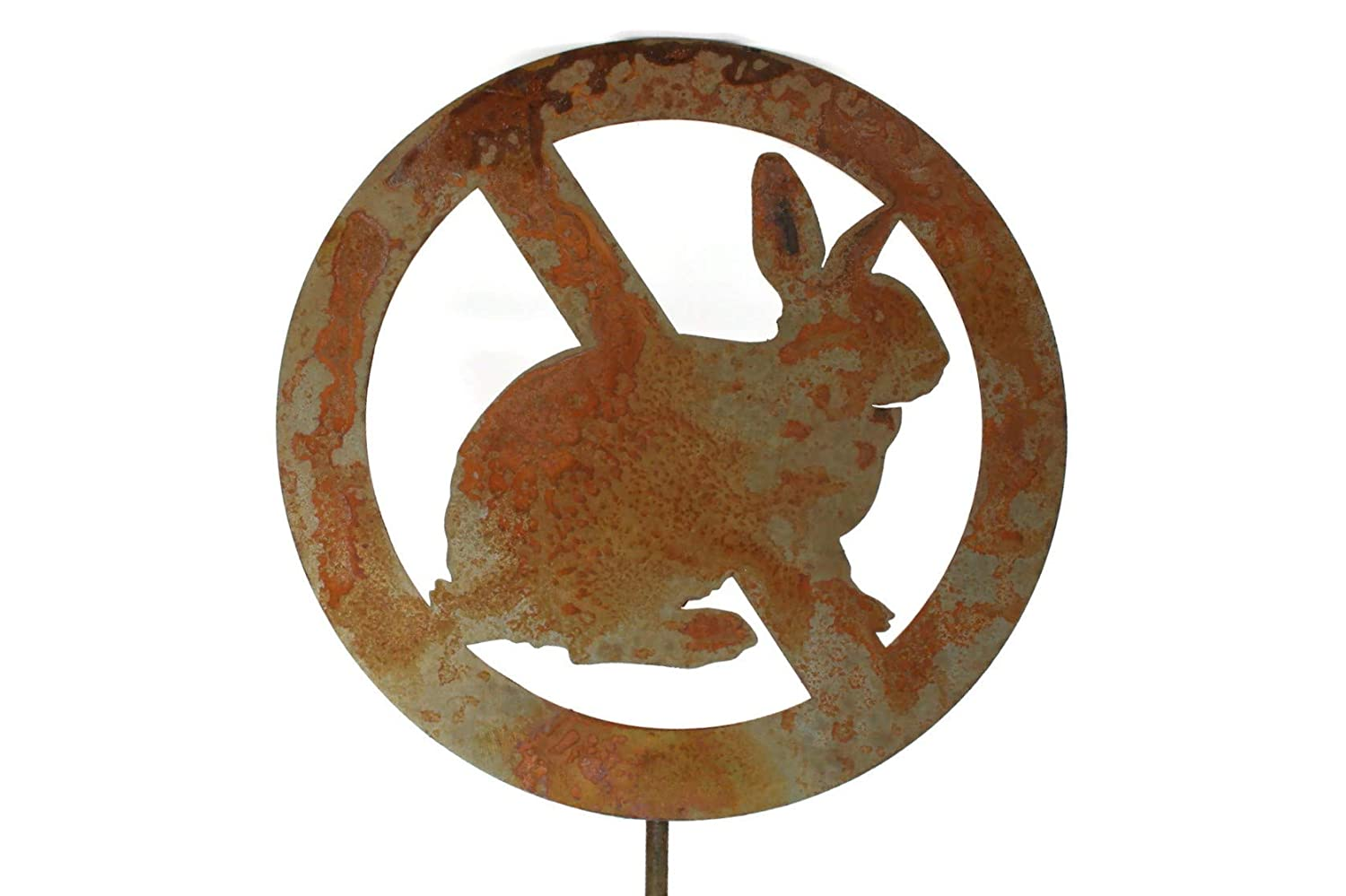 No Rabbits Allowed Bunny Prevention Rustic Garden Stake 22 Inches Tall