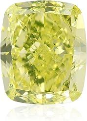 1.12 Carat Fancy Green Yellow Loose Diamond Natural Color Cushion Cut GIA Cert