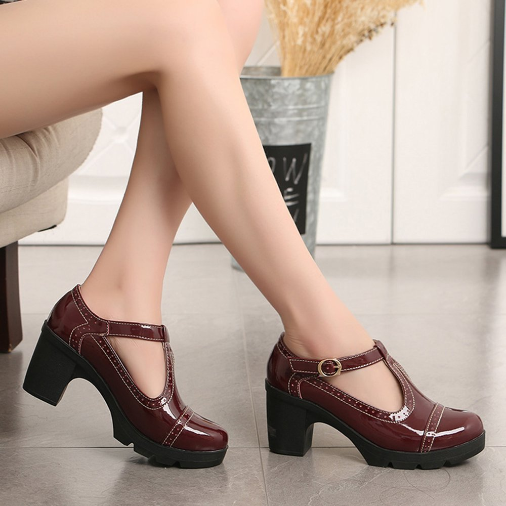 Ezkrwxn Platform Shoes Women Sandals Genuine Cow Leather Oxfords Business Casual Shoes Red Size 8 (777red39) by Ezkrwxn (Image #2)