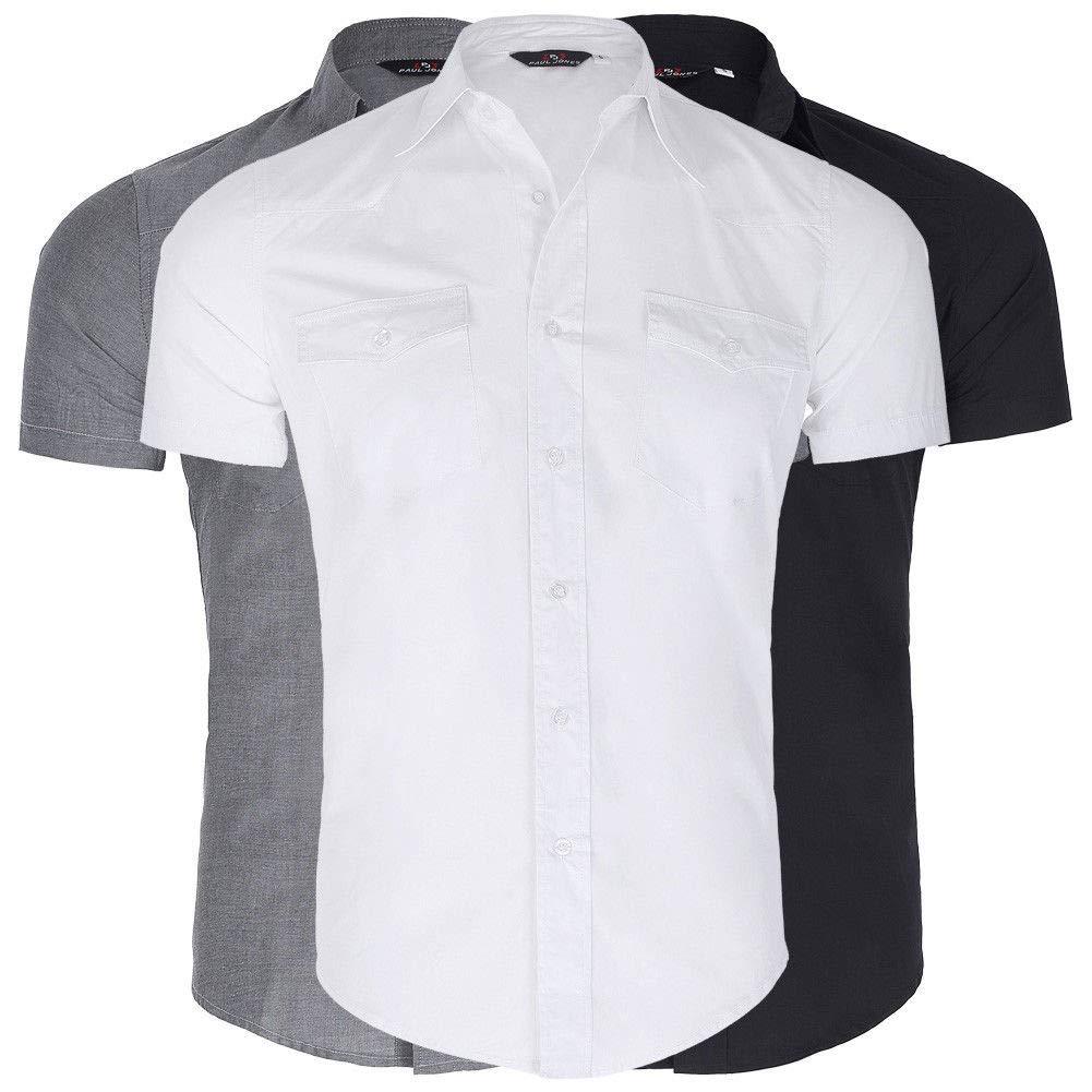 FidgetGear 2018 Vintage Men Short Sleeve Button Down Collar 100/% Cotton Tonic Shirt Top S-XL