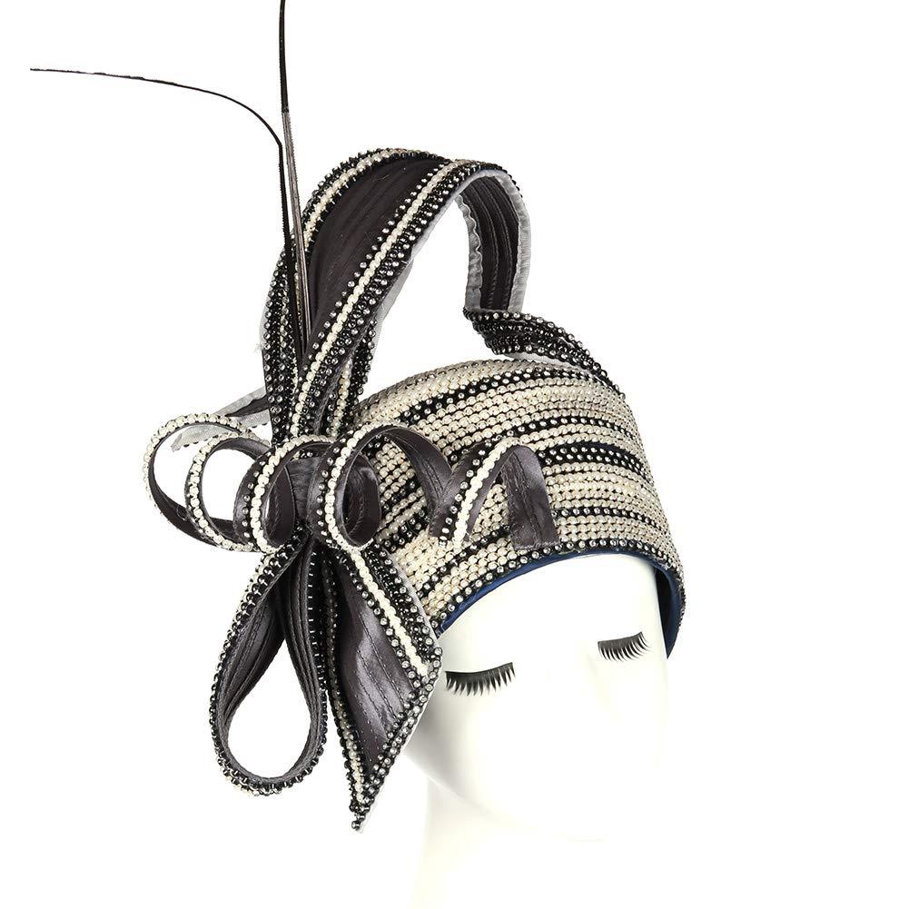 KUEENI Women Hats Special Designer Diamond Casing Wedding Party Church Hats (Black White)
