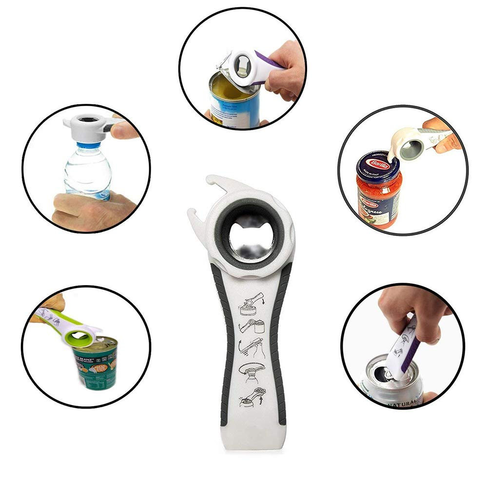 Pack of 2 Jar Opener Bottle Opener for Weak Hand 6-in-1 and 5-in-1 Multi Can Opener Kitchen Tool Elderly and Arthritis XINGHAO .