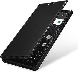 StilGut Book Type Case, custodia per BlackBerry Key2 a libro booklet in vera pelle con funzione on/off, Nero Nappa