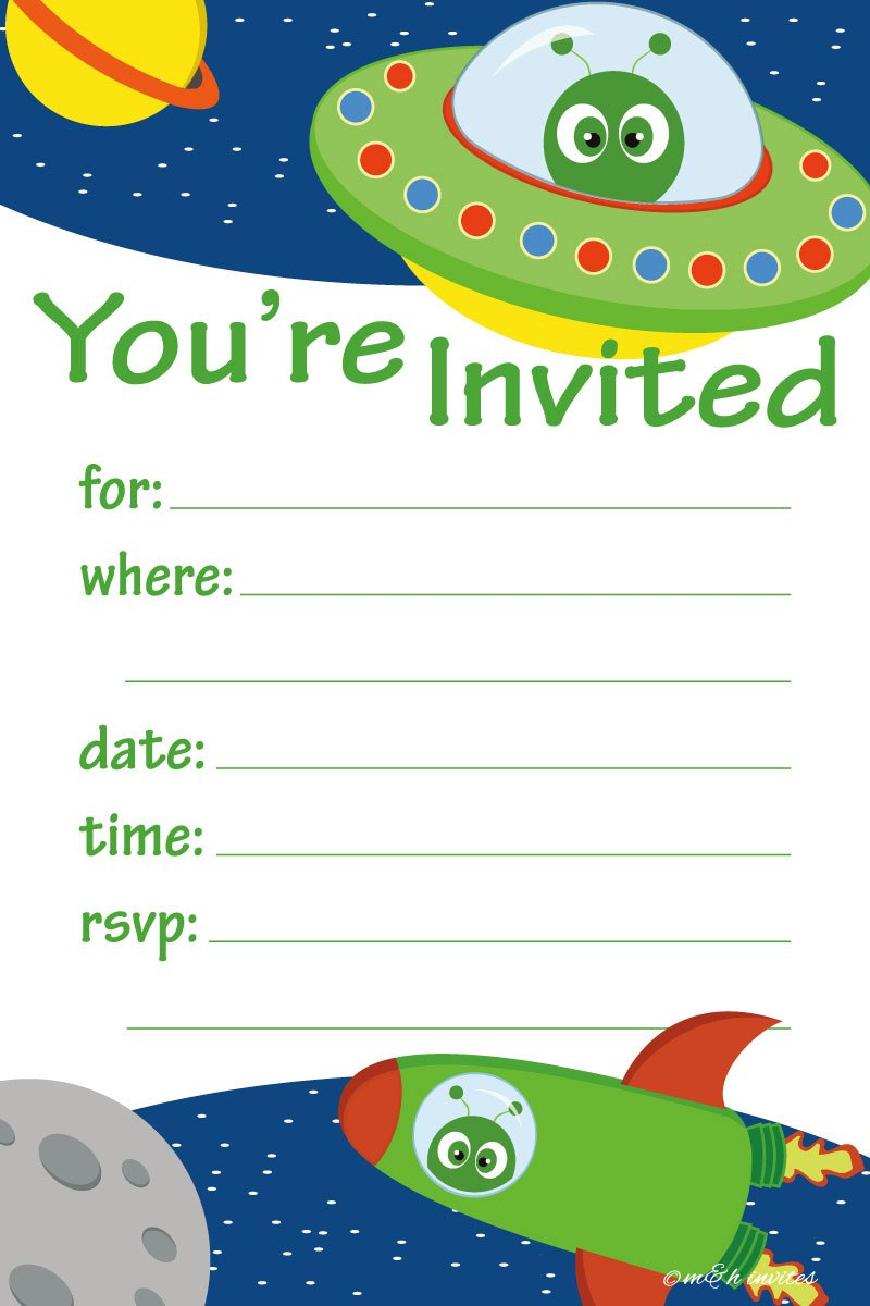 Space Alien Birthday Party Invitations - Fill In Style (20 Count) With Envelopes