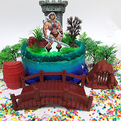 Masters of the Universe Deluxe HE-MAN Cake Topper Set Featuring He Man Figure and Decorative Themed Accessories Cake Toppers