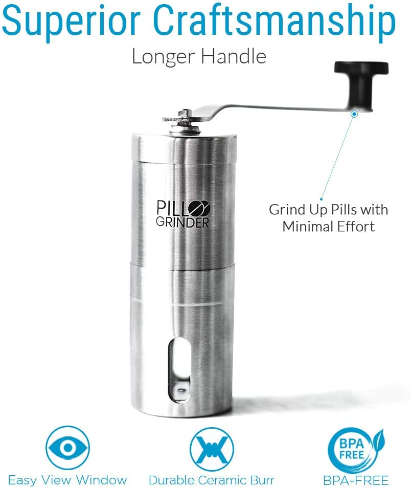 Pill Grinder - Stainless Steel Tablet & Vitamin Crusher - Grind and Pulverize Multiple Pills, Medicine to Fine Powder - Use for Feeding Tube, Kids or Pets: Health & Personal Care