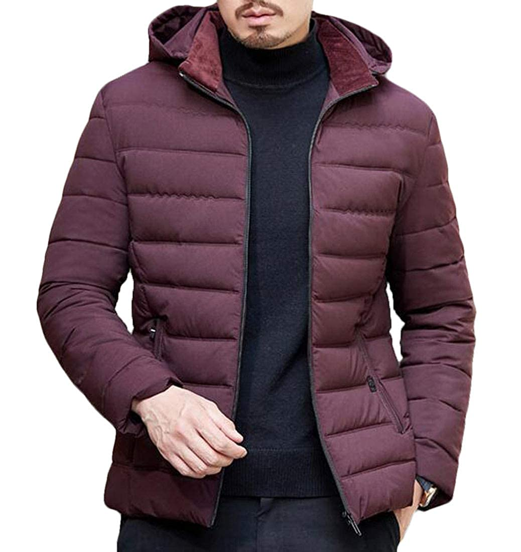 Nanquan Men Full-Zip Removable Hood Wear to Work Packable Insulated Puffer Down Jacket