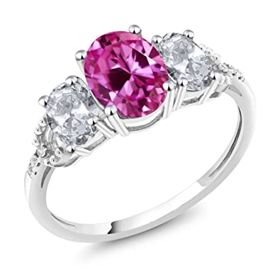 10K White Gold Pink Created Sapphire White Topaz And Diamond Accent Three-Stone Engagement Ring 2.70 Ctw (Available 5,6,7,8,9)