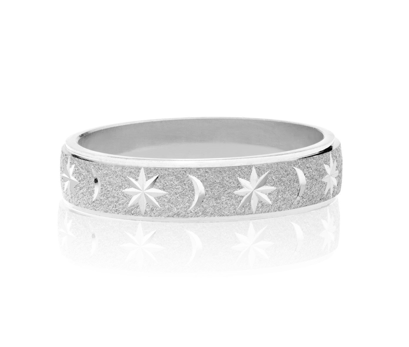 MiaBella Italian Moon and Star Band Ring in Sterling Silver (Rhodium, 9)