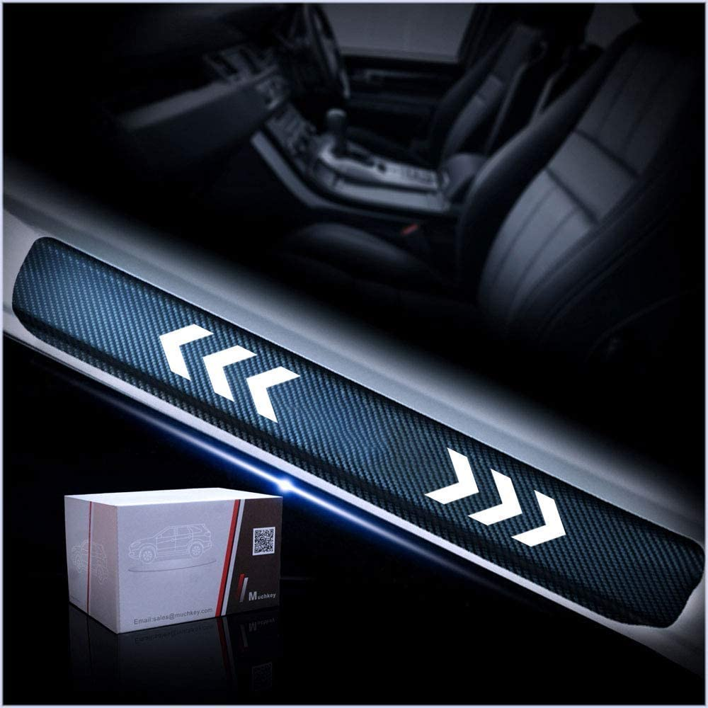 For CRV Accessories Car Door Sill Protector Stickers 3D CRV Carbon Fiber Black Scuff Plate Protection Sticker White