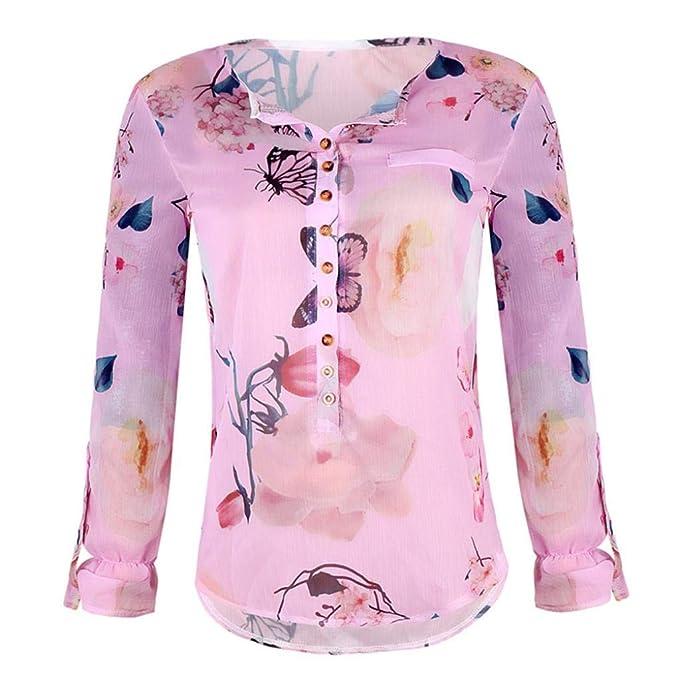 Mujeres,PANY Gasa Casual Floral Impreso Botón Camiseta Gasai rregular Blusa con DOB ladillo Superior