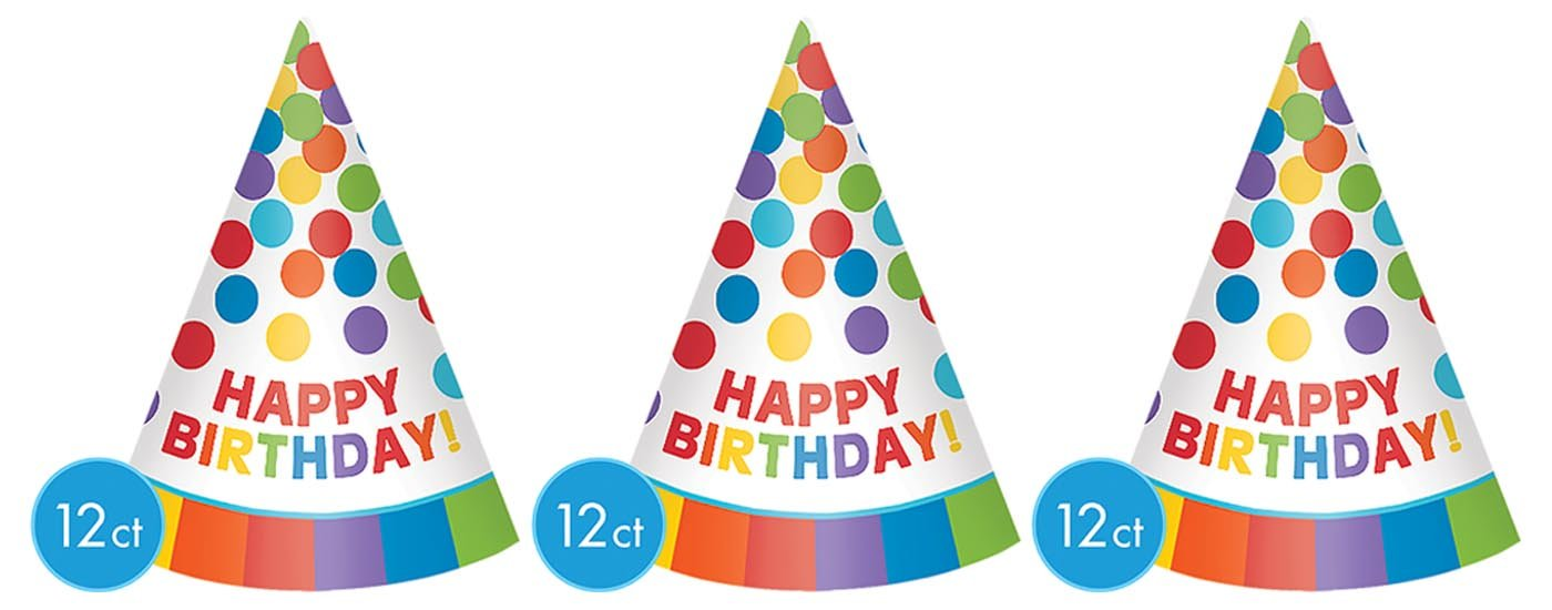 Multi 3 pack Fun Rainbow Birthday Party Paper Cone Hats Pack of 12 7 Paper