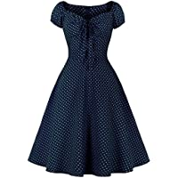Wellwits Women's Polka Dots Tie Ruched Front 1950s Vintage Dress