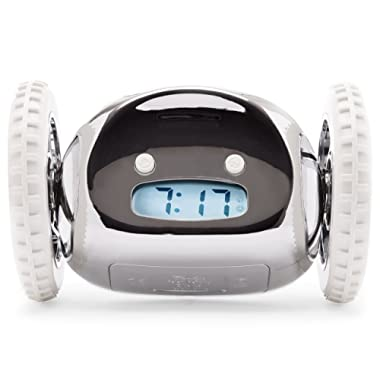 The Original Clocky Alarm Clock on Wheels: Loud R2D2 Beeping Sounds Wake You Up | Fun and Crazy, Jumps and Runs Away (Made for Heavy Sleepers Who Snooze and Can't Wake Up or Get out of Bed), Chrome