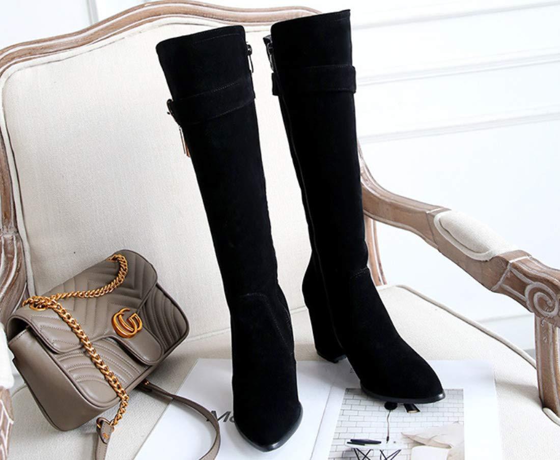 DANDANJIE DANDANJIE DANDANJIE Damen Stiefel 2018 Herbst & Winter Minimalismus Stiefel Chunky Heel Kniehohe Stiefel f86af7