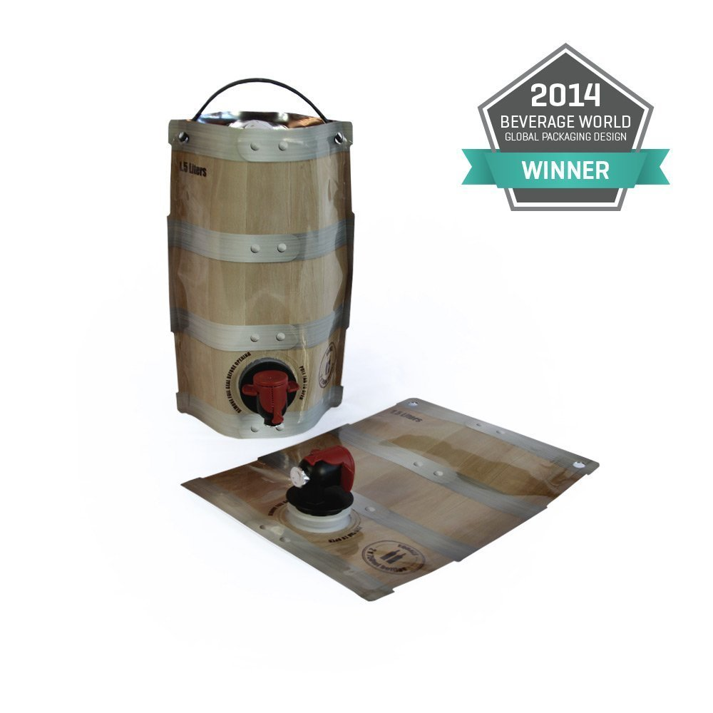 Wine Barrel Pouches 6-pack [Eco-Friendly Wine Bottle Alternative] - Easily Bottle, Dispense & Store Your Wines - Perfect For Home Winemakers (6 x 1.5L Barrel Pouches = The Equivalent of 12 bottles)
