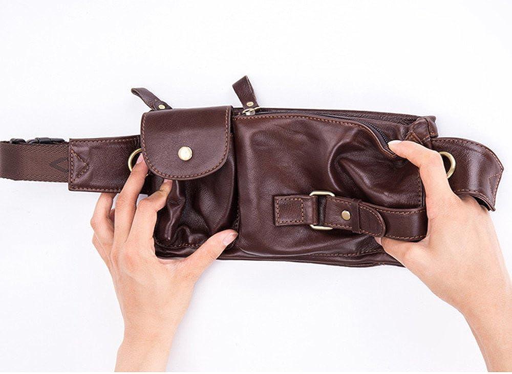 Mens Genuine Leather Fanny Pack Belt Bag Retro Waist Backpack Phon Holder Sling Bag
