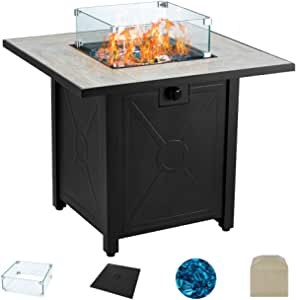 AVAWING Propane Fire Pit Table, 30 inch 50,000 BTU Square Gas Fire pits with Glass Wind Guard w/Ceramic Tabletop with Waterproof Cover, Outdoor Companion, Tempered Glass Beads, Protective Cover