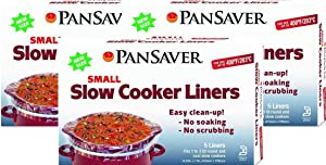 New - 5, 10 and 15 Packs PanSaver Disposable 1 to 3 Quart Small Slow Cooker Liners Crockpot Liners with Sure Fit Band - FDA Certified, NSF Approved, KOFK Certified Kosher (15)