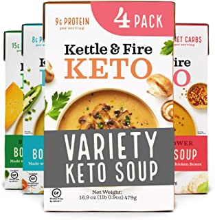 product image for Keto Soup Variety Pack by Kettle and Fire, Pack of 4, Spicy Cauliflower, Butter Curry, Broccoli Cheddar, Mushroom Bisque, Gluten Free, Paleo Friendly, Collagen Soup on the Go, Protein, 16.9 fl oz