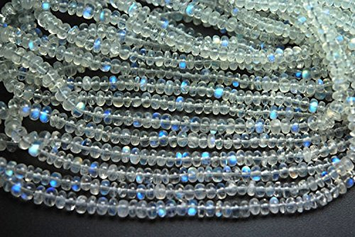 - 14 Inches Strand,Finest Quality AAA Blue Flashy Rainbow Moonstone Smooth Rondelles,3.5-4mm Large