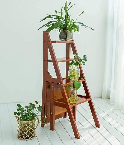 HOMRanger Escalera Plegable Estantes multifunción Escalera de Cuatro escalones Escalera de bambú Escalera de Escalada, 3 Colores de Doble Uso (Color: Blanco): Amazon.es: Hogar