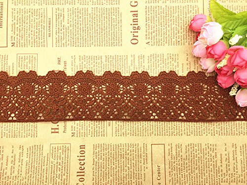 6CM Width Europe Flower Pattern Inelastic Embroidery Trims, Curtain Tablecloth Slipcover Bridal DIY Clothing/Accessories.(4 Yards in one Package) (Camel) Shanghai Royal-sourcing Industry Co. Ltd.
