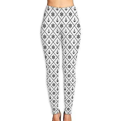 d5ae06b8a80f4 Amazon.com: Printed Leggings Full-Length Black Anchor On White Opaque Yoga  Pants: Clothing