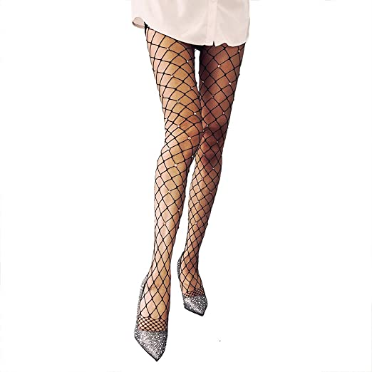 41228c212 Image Unavailable. Image not available for. Color  Women s Sexy Rhinestone  Pantyhose Fishnet Stockings Hollow Out Net Tight Hosiery