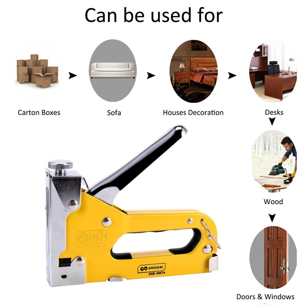 3-in-1 Staple Gun, Hand Operated Heavy Duty Carbon Steel Brad Nail Gun with 1 Staples Gun, 600 PCS Staples for Fixing Material, Decoration, Carpentry, Furniture, Doors and Windows by Enseng (Image #2)