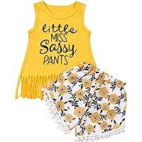 Bebé Niñas Pequeñas 2 Piezas Ropa Verano Conjunto de Traje Top Camiseta sin Manga con Cuello Redondo + Pantalones Largos…