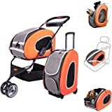 MULTIFUCTION Pet Carrier + Backpack + CarSeat + Carriers with Wheels + Pet Stroller for dogs and cats ALL IN ONE