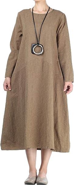 Amazon.com: Mordenmiss Vestidos de lino de manga larga con ...