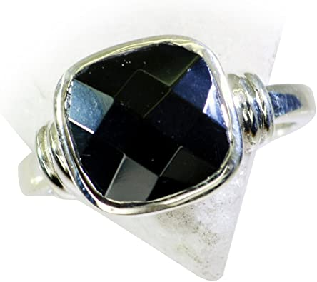 55Carat Natural Black Onyx Ring Sterling Silver Square Shape Astrology US 4,5,6,7,8,9,10,11,12