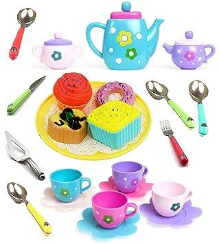 Amitasha Kitchen Utensils Tea Party Pretend Food Playset for Kids (Tea Set)