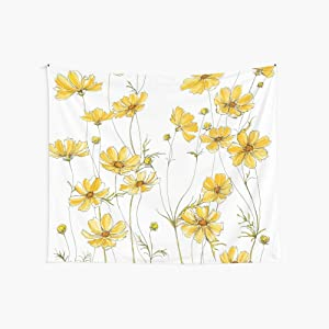"""JOOCAR Simple Design Flower Floral Wall Hanging Decor Tapestry Yellow Cosmos Flowers Boutique Watercolor Home Wall Decoration Tapestries 51.2""""x39.4"""""""