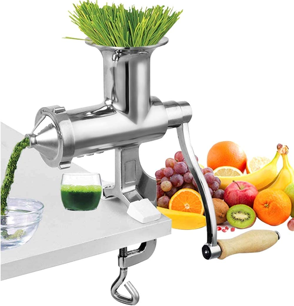 Moongiantgo Manual Wheatgrass Juicer Extractor Stainless Steel Manual Juicer for Juicing Wheat Grass Celery Kale Spinach Parsley Pomegranate Apple Grapes Fruit Vegetable (Detachable Slag Outlet)