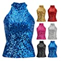 Howriis Women's Sequins Halterneck Summer Short Vest Tank Tops
