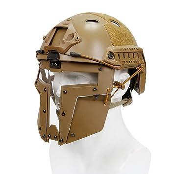 haoYK Casco de Deporte Multiusos Protector táctico Casco Airsoft Paintball Tipo PJFast Casco Gafas CS Juego
