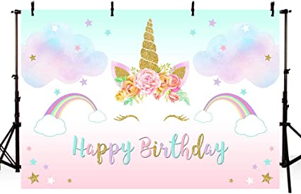 Sfondo acquerello per primo compleanno 2,1 x 1,5 m per studio fotografico motivo: unicorno decorazione per fotografia MEHOFOTO con stelle colorate e fiori per primo compleanno principessa