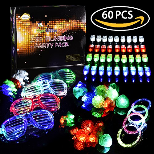 LED Light Up Toys Flashing Party Favors & Party Supplies Beam Finger Light, Glow-in-the-dark Glasses, Bumpy Rings, Children's Theme Disco Dancing Set for Birthday, Festival, Carnival 60 (Wholesale Childrens Party Supplies)
