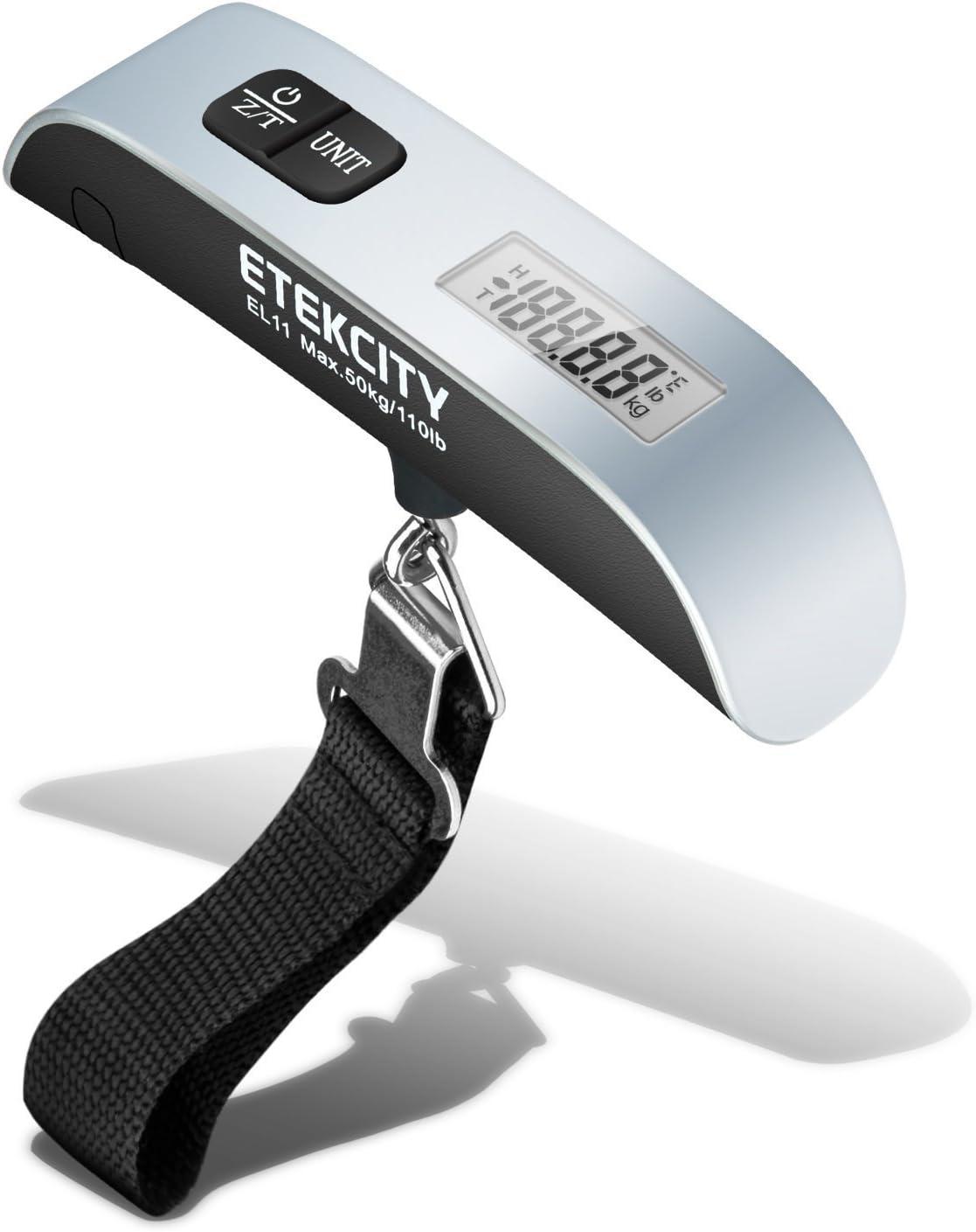 ETEKCITY EL11 Báscula Digital de Equipaje 50kg con Sensor de Temperatura, Pantalla LCD, Función de Tara y Datos-Bloqueados, Balanza Ergonómica para Maletas Equipaje de Viaje