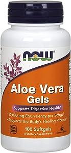 NOW Aloe Vera Gels, 10000mg, 100 Softgels (Pack of 3)