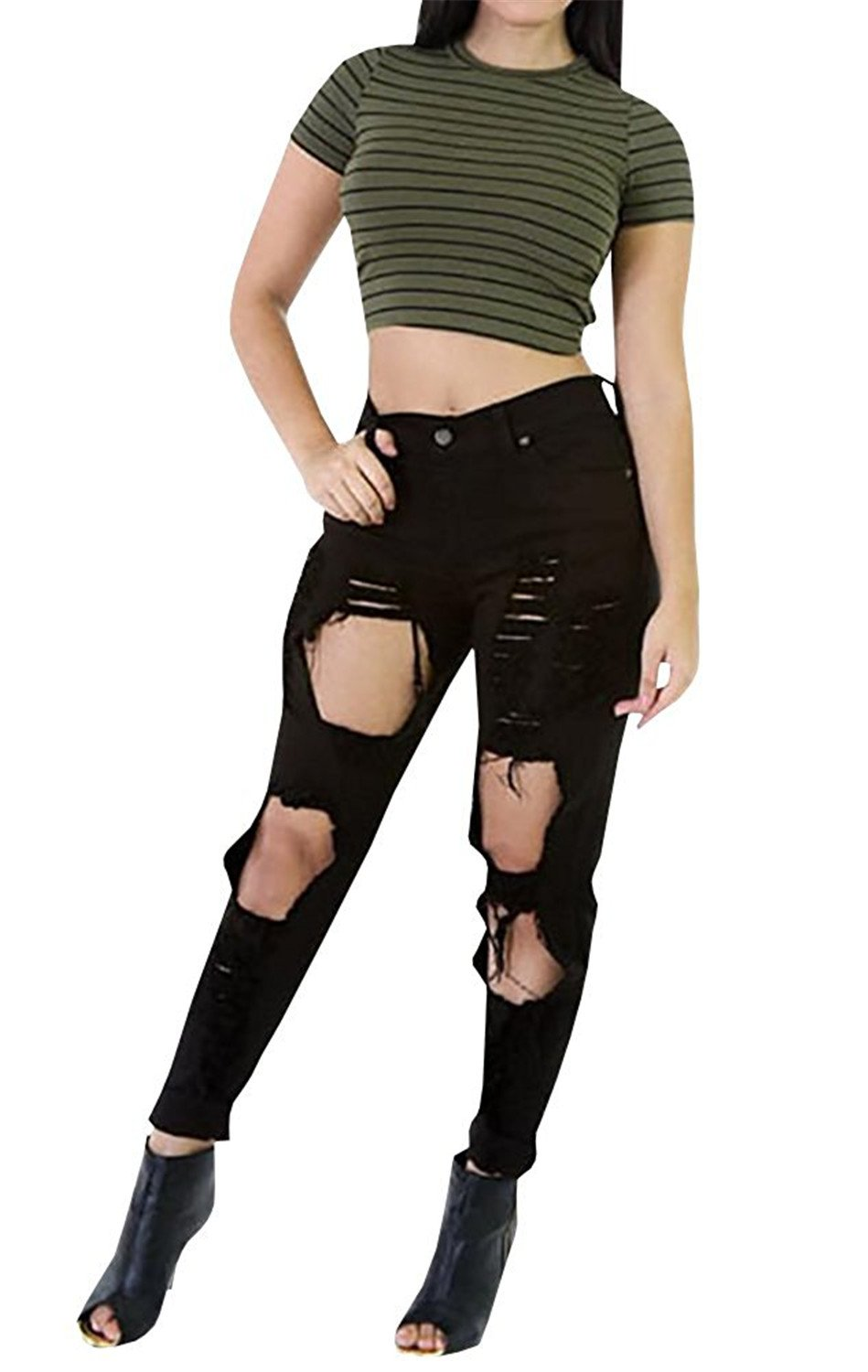 Cheryl Bull Fashion Women Big Holes Ripped Jeans Skinny High Waisted Pencil Pants Black White Plus Size Jeans by Cheryl Bull Jeans (Image #1)